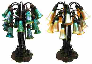 2718 18-Light Lily Favrile Glass and Bronze Table Lamps