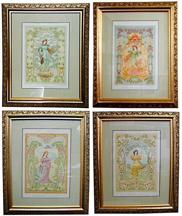 4764 Set of Four French Art Nouveau Prints