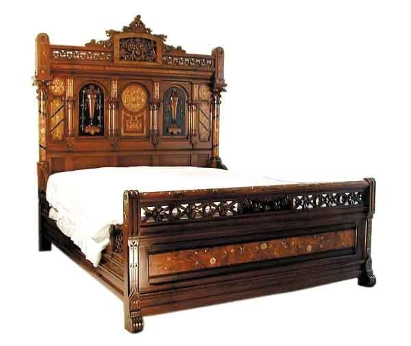 4427 2-Piece Walnut and Burl Wood King Size Bed Set