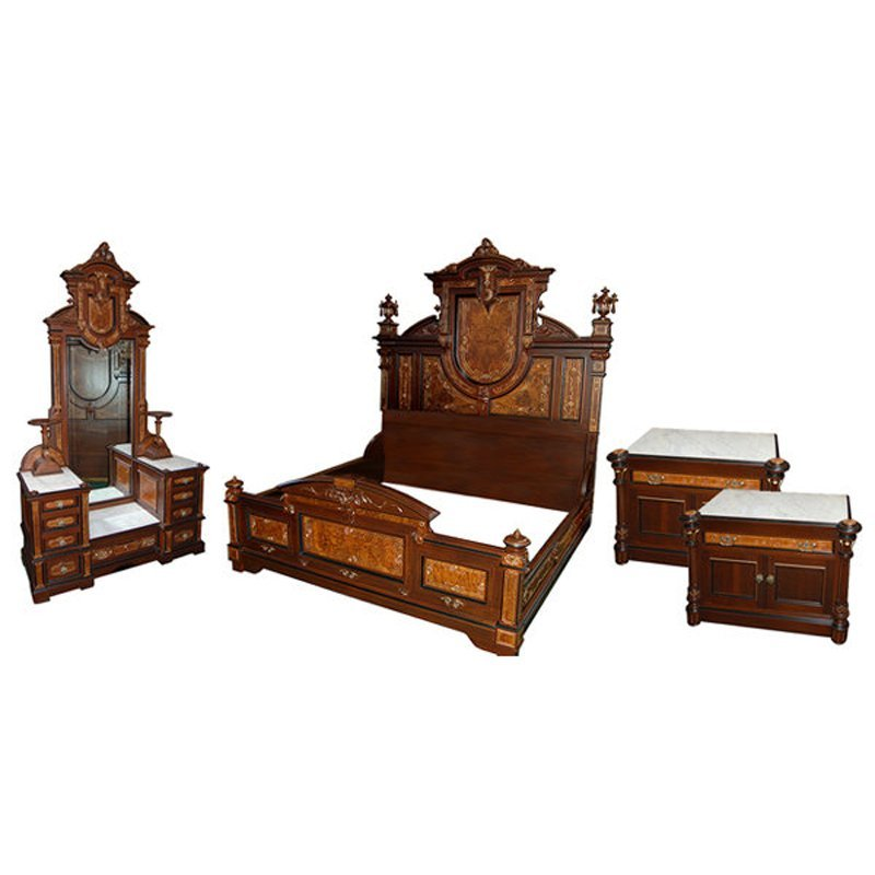 3909 4-Pc. Walnut Victorian Bedset by Thomas Brooks