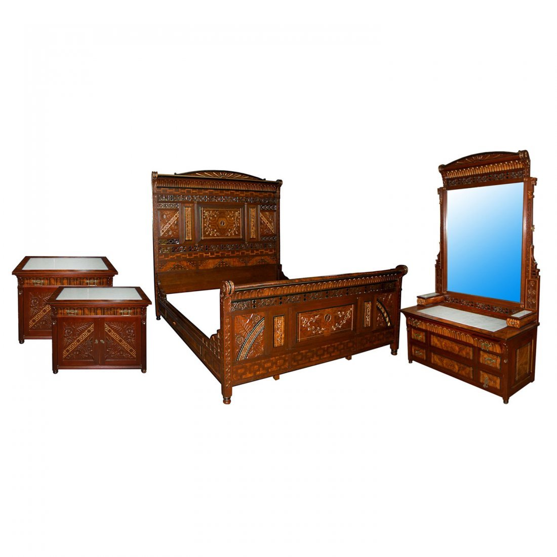 7432 4-Piece Victorian Aesthetic Movement King Size Bed
