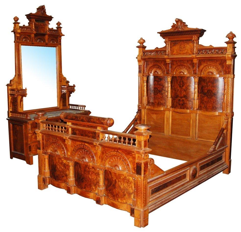 6590 19th C American Carved Burled Walnut Bed & Dresser