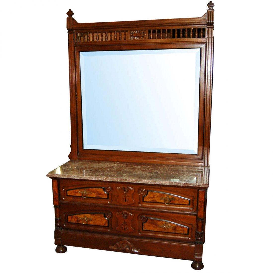 4428 Eastlake Dresser with Marble Top & Beveled Mirror