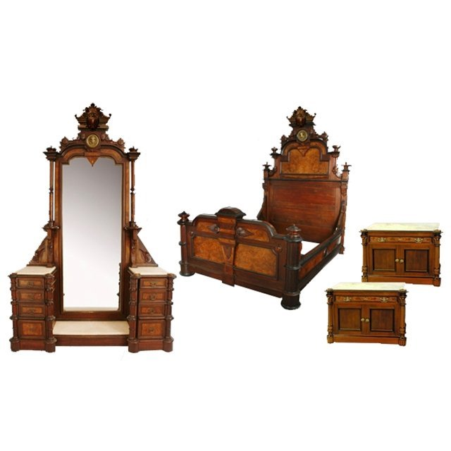 7295 4-Pc. American Victorian Bedset by Thomas Brooks