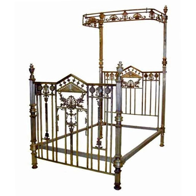 6573 Beautifully Detailed 19th C. Silver Over Brass Bed
