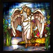 7547 Antique Stained Glass Angel Window Attr: Tiffany