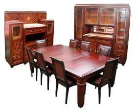 3035 Art Deco 11 Pc Dining Suite In Ebony De Macassar