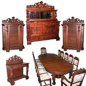 7187 17-Pc. Oak Dining Set with Figural Maidens