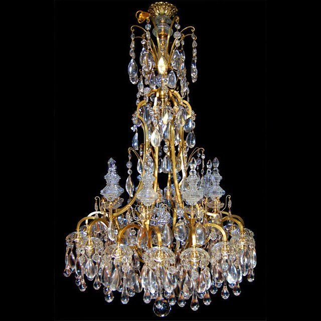 19th C. Bronze and Crystal Chandelier