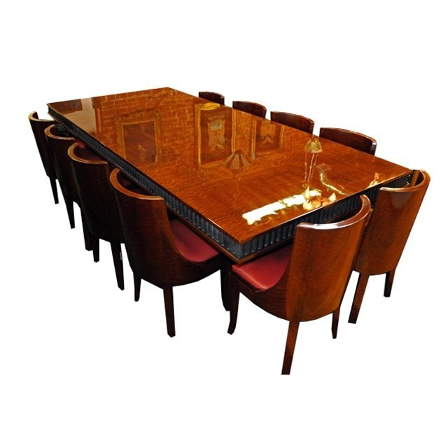 7028 French Art Deco Dining Set with Wrought Iron Base,