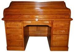2043 Antique 19th C. American Oak Rolltop Desk
