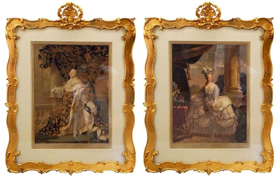 7910 Pair of Portraits of Louis XVI &  Marie Antoinette
