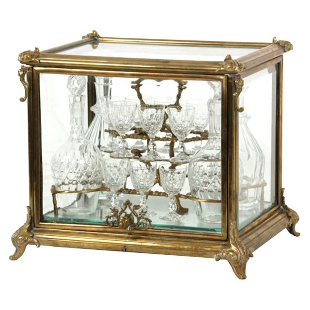 7906 Brass & Beveled Glass Tantalus Set
