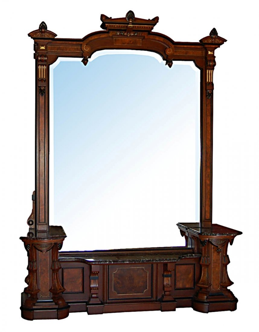 3102 Renaissance Revival Walnut Hall Mirror c. 1890
