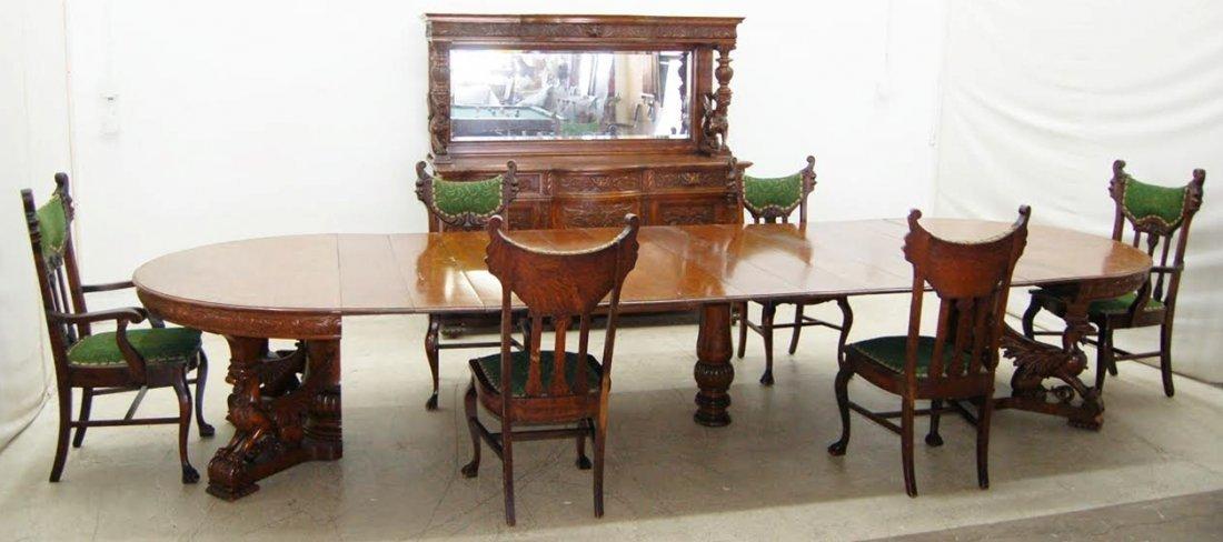 7773 RJ Horner Victorian Oak Dining Room Suite 8-Piece