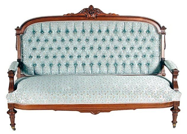 5939 19th C. Victorian Antique Sofa Executed in Walnut