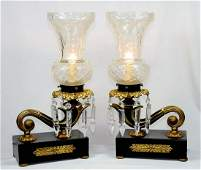 5860 Pair of Antique French Bronze & Iron Table Lamps