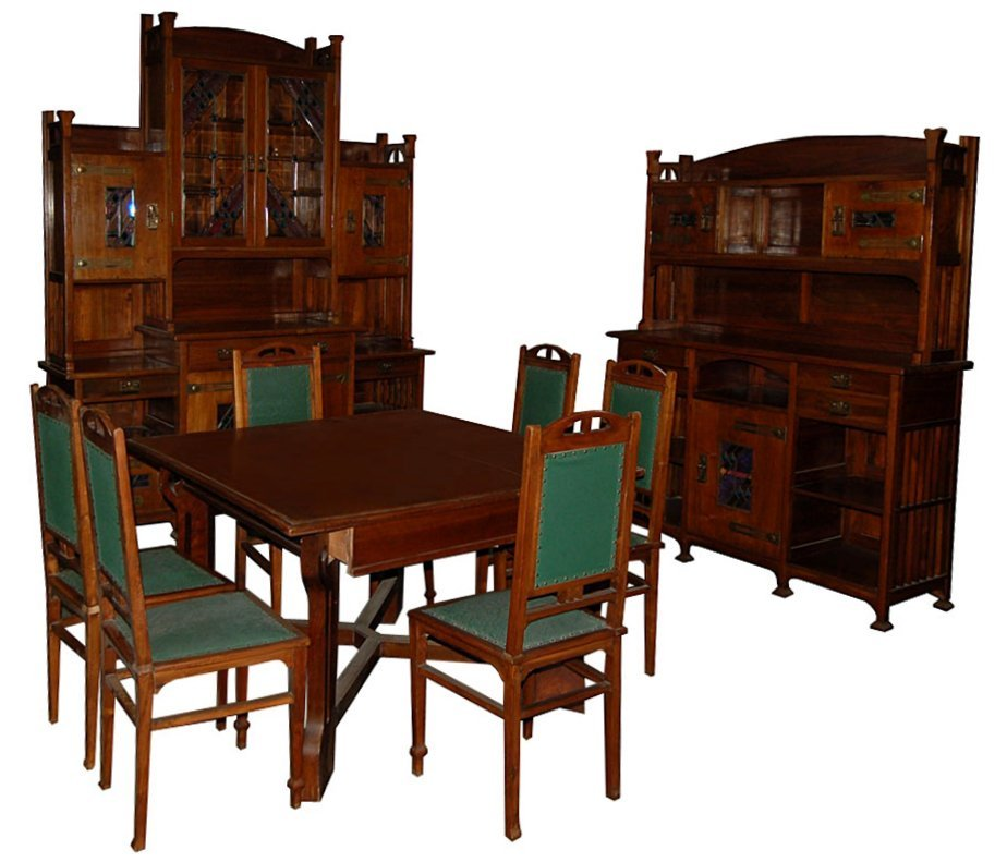 5184 English Arts & Crafts 11-Piece Dining Room Suite