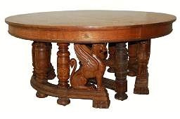 7247 19th C. American Oak Carved Winged Griffin Dining