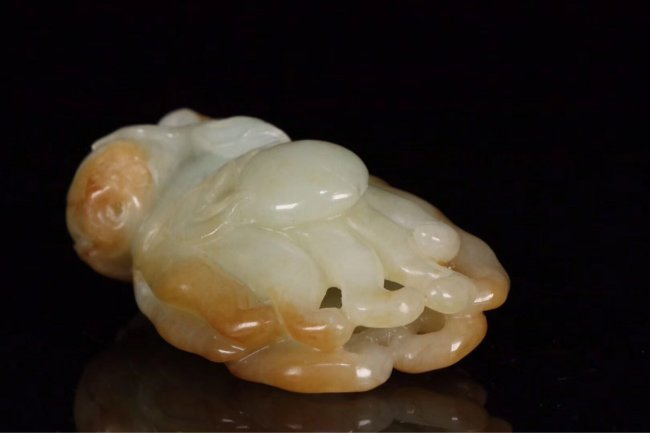"Chinese Qing Dynasty white jade carved ""Bergamot"" - 7"
