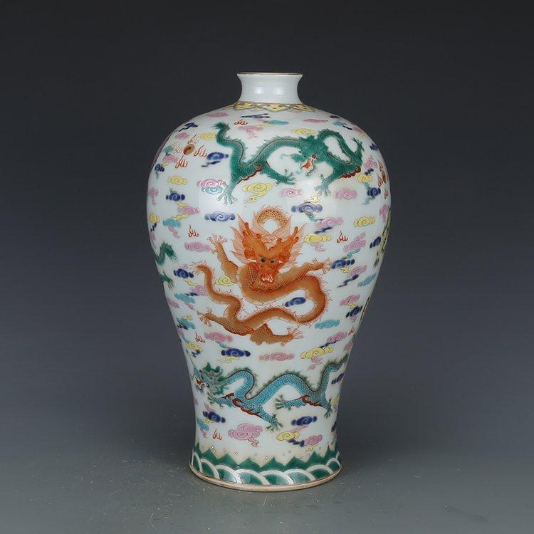 Chinese Qing Dynasty pastel dragon vase
