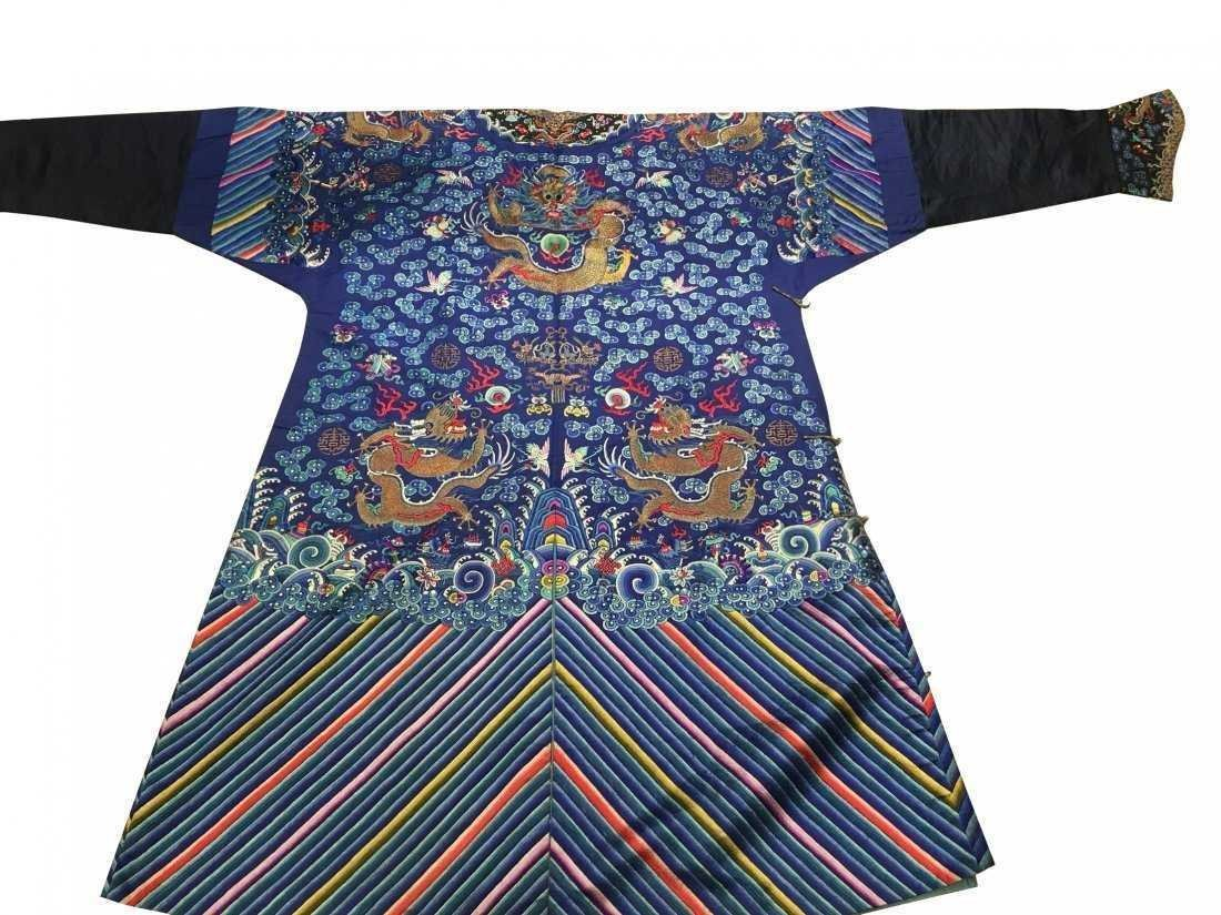 CHINESE EMBROIDERED SILK DRAGON ROBE - 2