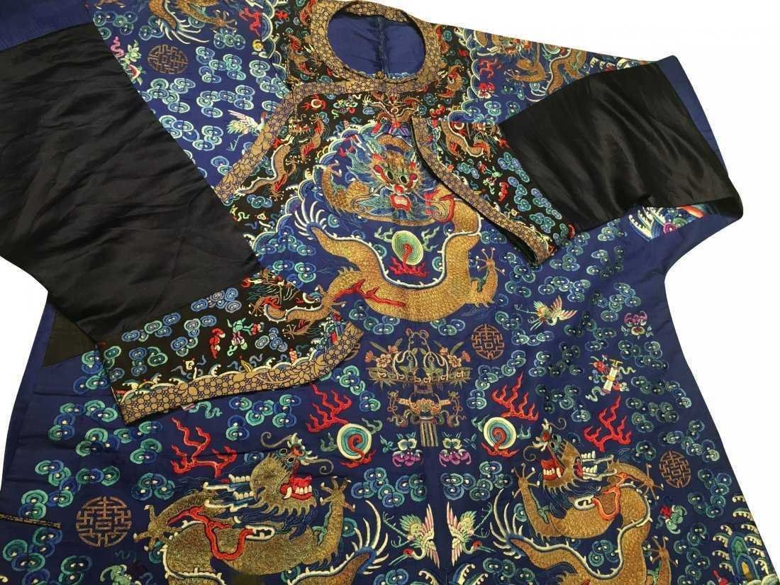 CHINESE EMBROIDERED SILK DRAGON ROBE - 3