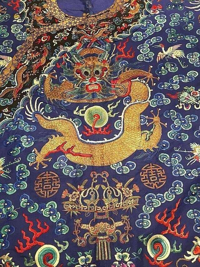 CHINESE EMBROIDERED SILK DRAGON ROBE - 4
