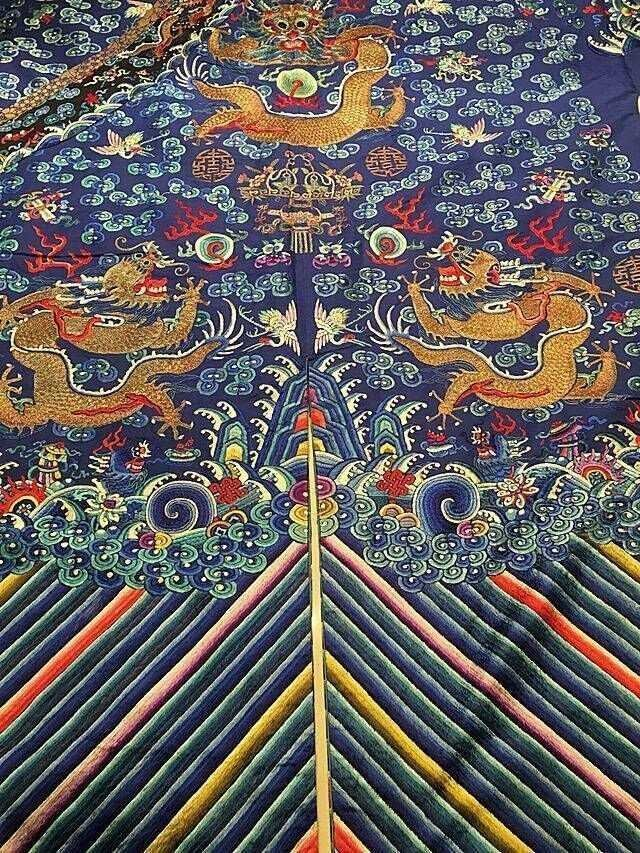 CHINESE EMBROIDERED SILK DRAGON ROBE - 6