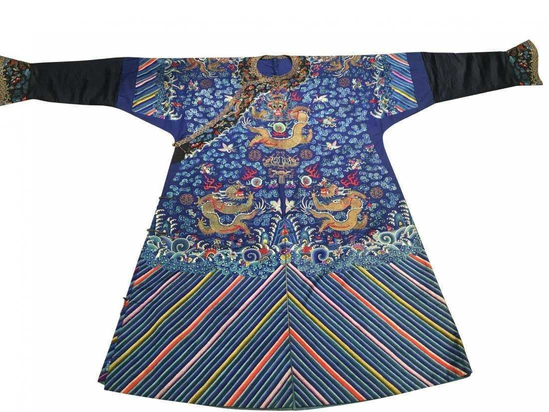 CHINESE EMBROIDERED SILK DRAGON ROBE - 9