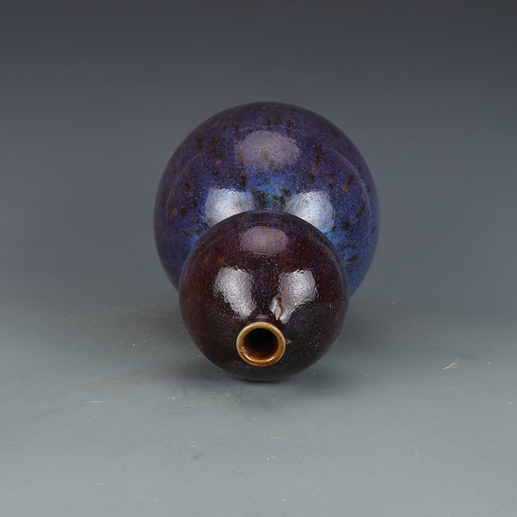 Qing dynasty Kiln discoloration Bottle gourd vase - 3