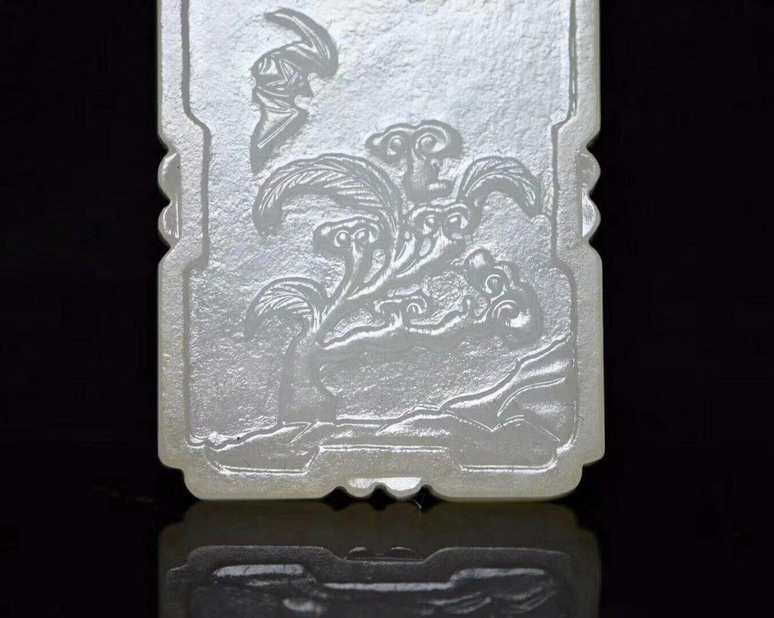 Carved White Jade Pendant - 4