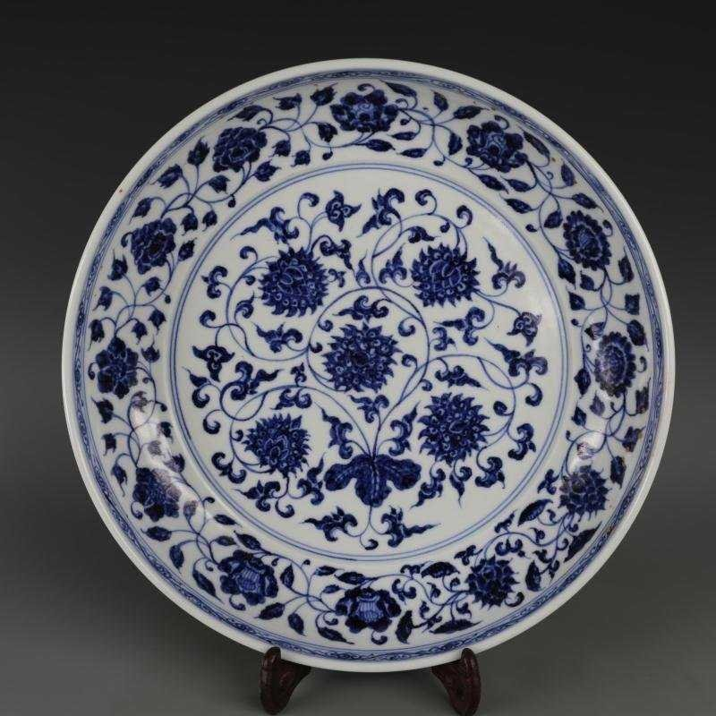 Ming Dynasty blue and white tangled lotus disk