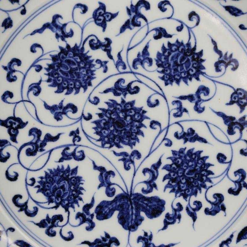 Ming Dynasty blue and white tangled lotus disk - 2