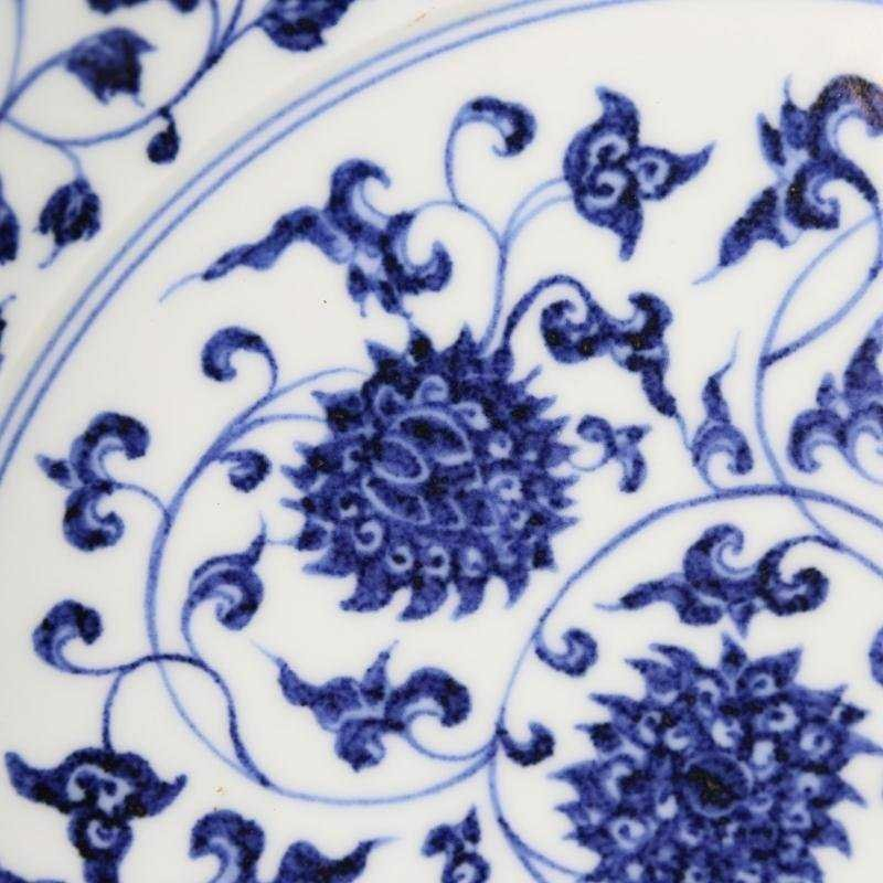 Ming Dynasty blue and white tangled lotus disk - 3