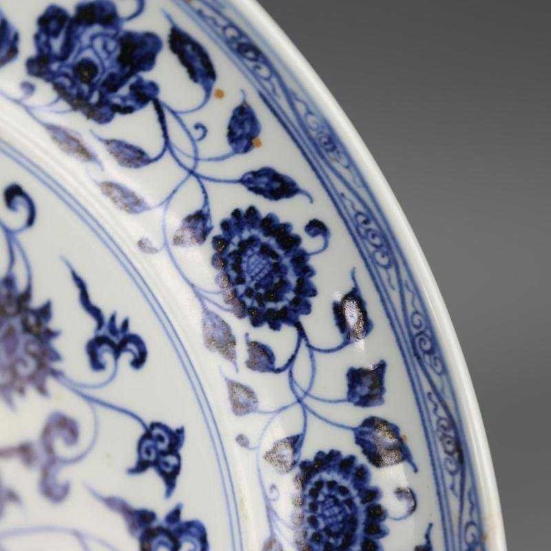 Ming Dynasty blue and white tangled lotus disk - 4