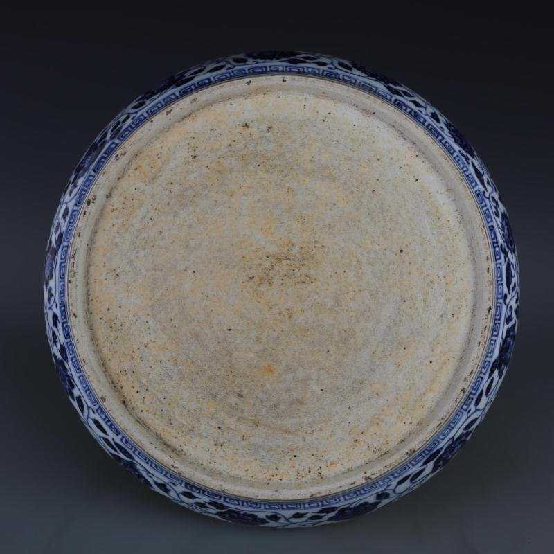 Ming Dynasty blue and white tangled lotus disk - 5