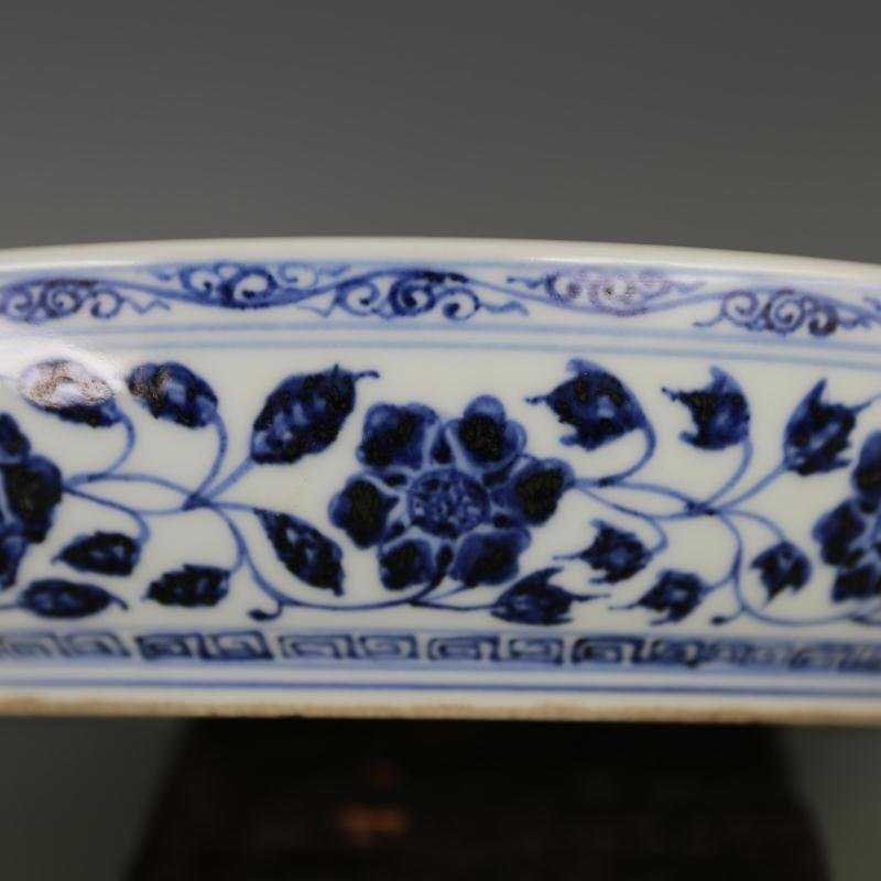 Ming Dynasty blue and white tangled lotus disk - 8