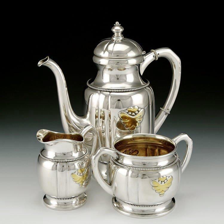 Danish sterling silver Gold plating tea set in 1913