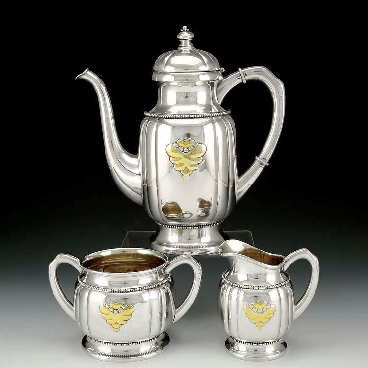 Danish sterling silver Gold plating tea set in 1913 - 2