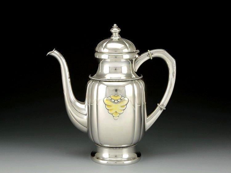 Danish sterling silver Gold plating tea set in 1913 - 4