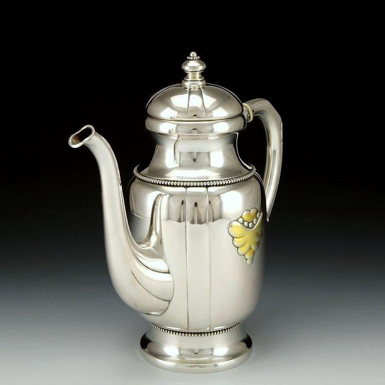 Danish sterling silver Gold plating tea set in 1913 - 5
