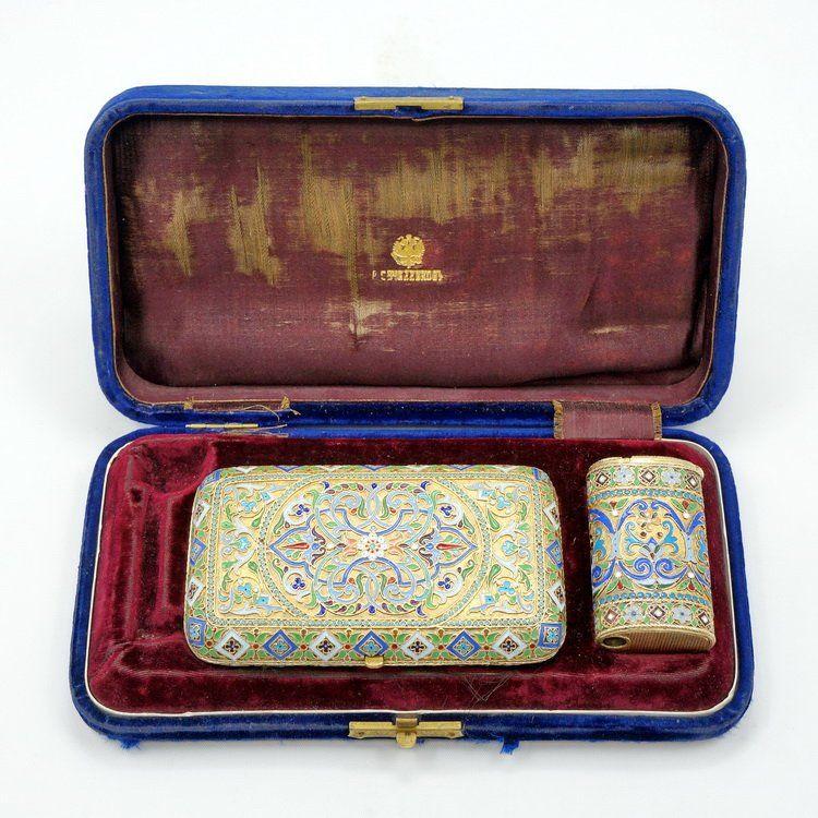 Russian sterling silver enamel cigarette case matchbox