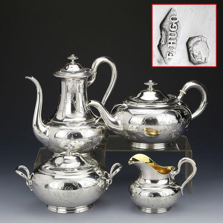 1838 French sterling silver gilt tea set