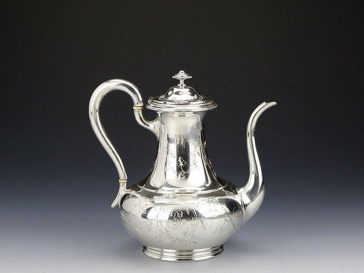 1838 French sterling silver gilt tea set - 2