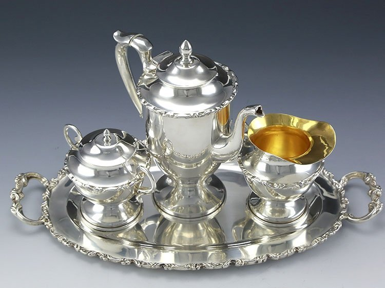 Mexican sterling silver teapot four-piece suit - 10