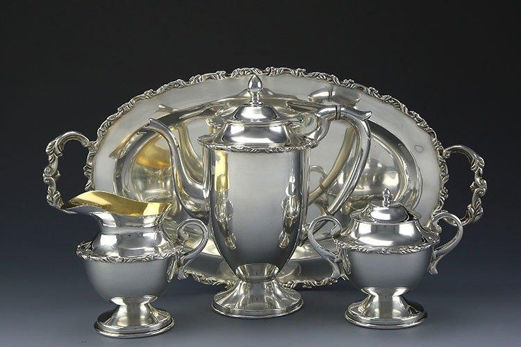 Mexican sterling silver teapot four-piece suit