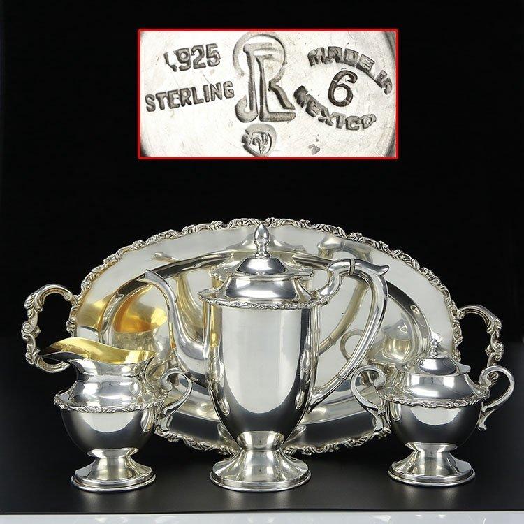 Mexican sterling silver teapot four-piece suit - 2