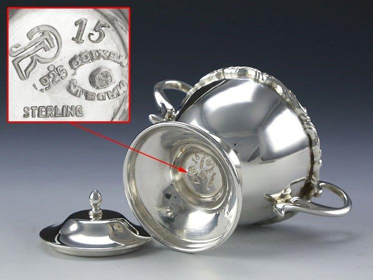 Mexican sterling silver teapot four-piece suit - 6
