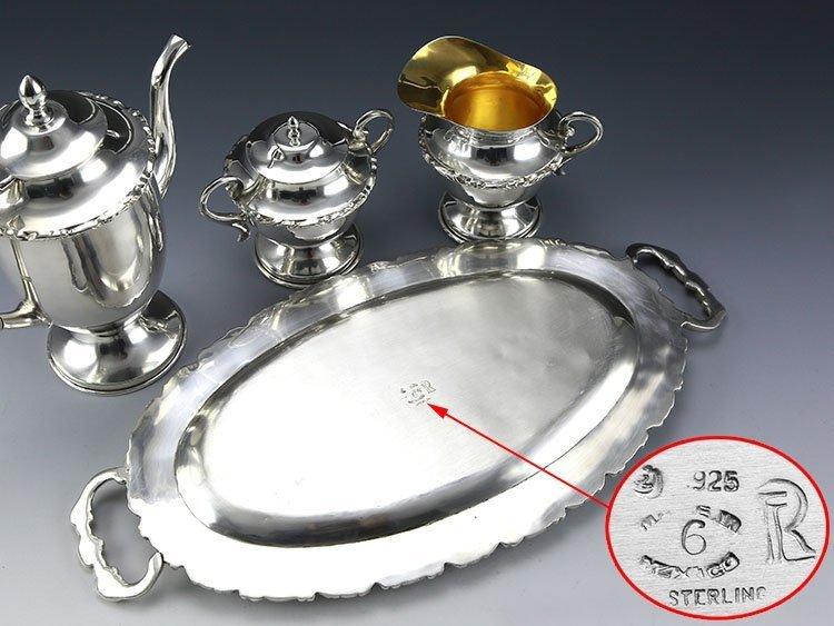 Mexican sterling silver teapot four-piece suit - 9